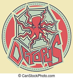 graffiti stye vector contour drawing octopus illustration