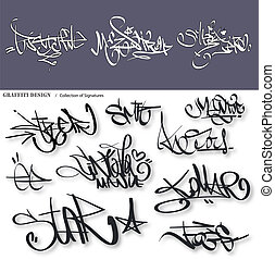 Graffiti tags urban signature