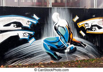 Graffiti - The wall with city graffiti
