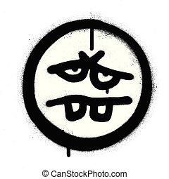graffiti tired emoticon sprayed in black over white