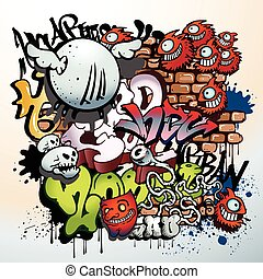graffiti, urbain, art, éléments