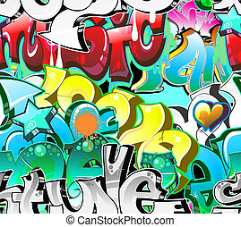 Graffiti Urban Art Background. Seamless design