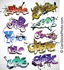 Graffiti urban art vector set