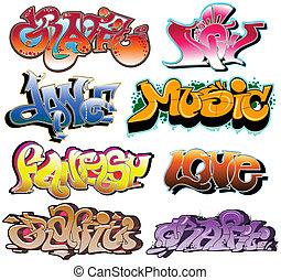 graffiti urbano, vetorial, arte, jogo