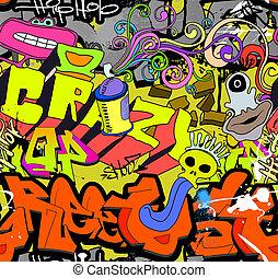 Graffiti wall art background. Hip-hop style seamless texture...