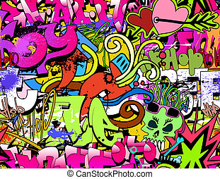 Graffiti wall art background. Hip-hop style seamless texture pattern