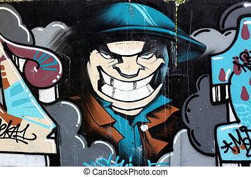 Graffiti wall background, urban street grunge art