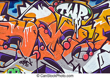 Colorful graffiti on the wall