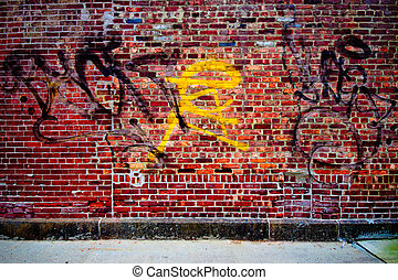 Graffiti Wall - Grungy urban graffiti brick wall for...