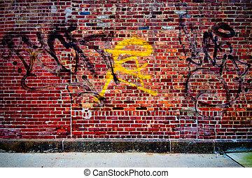 Grungy urban graffiti brick wall for backdrop