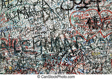 Lovers wall in verona Italy, Large wall of graffiti upon graffiti