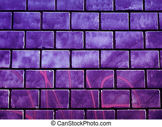 Graffiti wall - Purple graffiti brick wall texture close up...