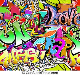 graffiti, wall., stedelijke , kunst, vector, achtergrond., seamless, heup hop, textuur