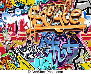 graffiti, wall., urbain, art, vecteur, arrière-plan., seamless, bond branché, texture