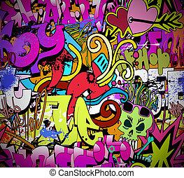 graffiti, wand, kunst, hintergrund., hüfte-hopfen, stil, seamless, beschaffenheit, muster