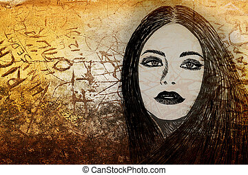 graffiti woman on wall - graffiti fashion illustration of a...