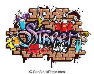Graffiti word characters composition - Decorative urban...