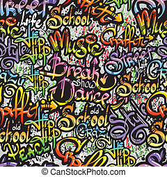 Graffiti word seamless pattern - Graffiti spray paint...