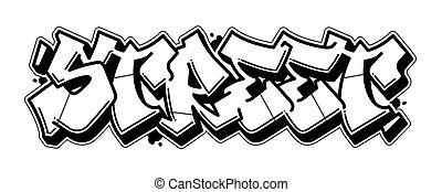 graffito, bandiera, strada