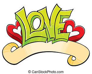 graffito, con, amore