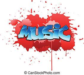 graffito, musica, fondo