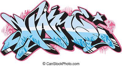 Graffito - name - Graffito text design - name. Color vector...