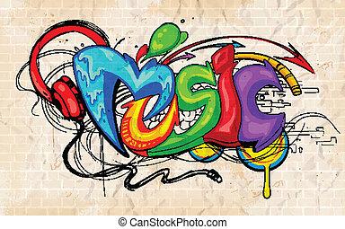 graffito, stile, musica, fondo