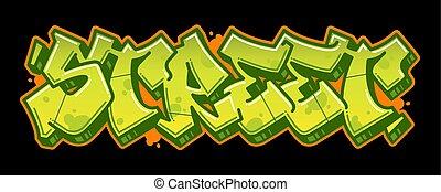 graffito, strada, bandiera