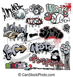 graffito, urbano, arte, elementi