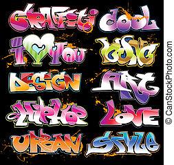 graffito, urbano, arte, vettore, set