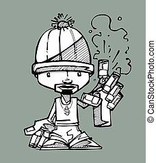Graffitti artist - Hand drawn vector illustration or drawing...