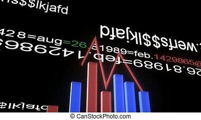 grafici, e, numeri, e, frecce, animation., concetto affari