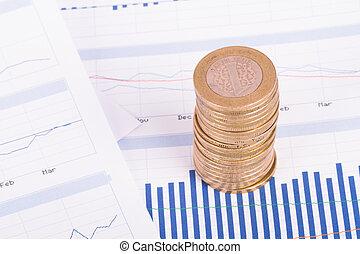 grafici, monete, finanziario, grafico, dati