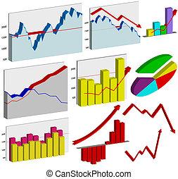 grafici, set, affari, 3d