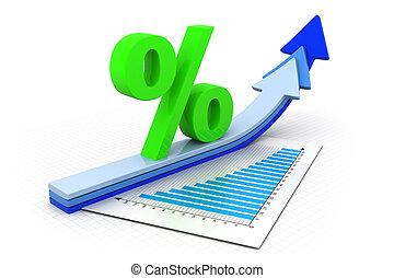 grafici, simbolo, percentuale, freccia