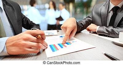 grafici, tabelle, affari, tavola.