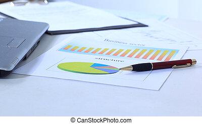 grafici, tabelle, affari, tavola., th