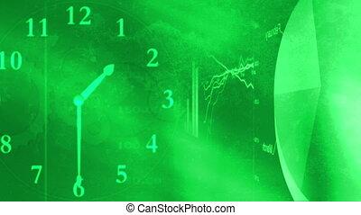 grafici, verde, tabelle, cappio, tempo