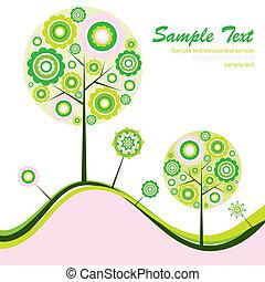 grafické pozadí, abstraktní, vektor, strom