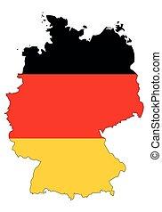 grafické pozadí, -, celostátní mapovat, nárys, německo, udat, běloba vlaječka, prapor