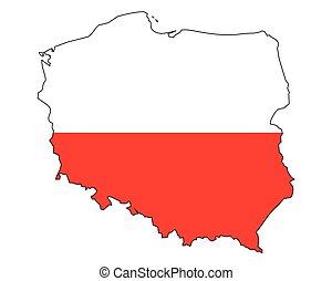 grafické pozadí, -, celostátní mapovat, nárys, polsko, udat, běloba vlaječka, prapor