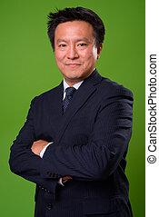 grafické pozadí, japonština, na, nezkušený, uzrát, obchodník