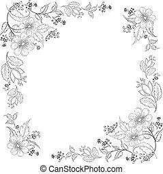grafické pozadí, květ, kontura