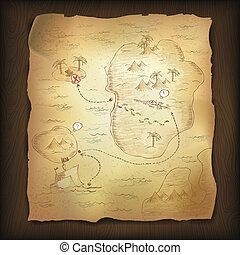 grafické pozadí., mapa, dřevěný, poklad