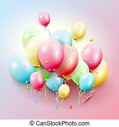 grafické pozadí, obláček, barvitý, narozeniny