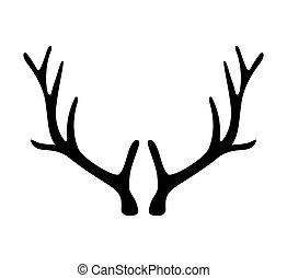 grafické pozadí., osamocený, neposkvrněný, antlers., jelen, ikona, růžky