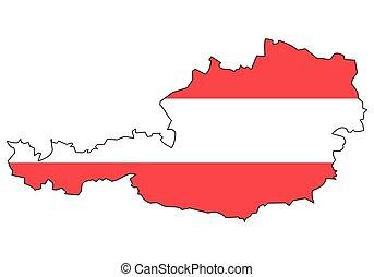 grafické pozadí, rakousko, -, celostátní mapovat, nárys, udat, běloba vlaječka, prapor