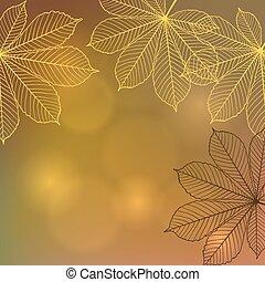 grafické pozadí, s, padající, podzim, leaves., vektor,...
