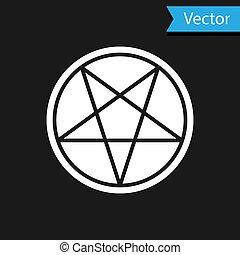 grafické pozadí., symbol., pentagram, vektor, kruh, čerň, okultní, neposkvrněný, kouzelnictví, ikona, osamocený, hvězda, ilustrace
