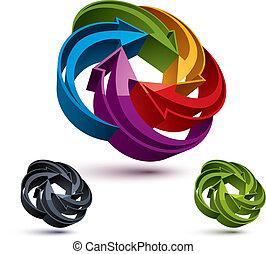 grafický, abstraktní, šípi, znak, vektor, design, volt, šablona
